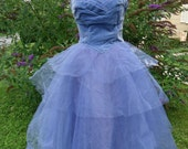 Vintage original womens prom formal dress 1950's tulle purple lavender early textiles gown