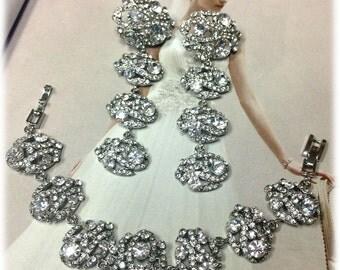 Bridal jewelry set, wedding jewelry set, bridal crystal bracelet , bridal earrings, Austrian crystal bracelet earrings, bridal bracelet