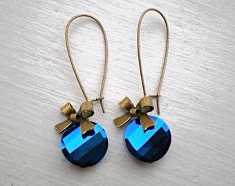 Metallic Blue Crystal Earrings/Blue Earrings/Crystal Earrings/Bow Earrings/Bridesmaid Earrings/Blue Crystal Earrings/Gifts For Her