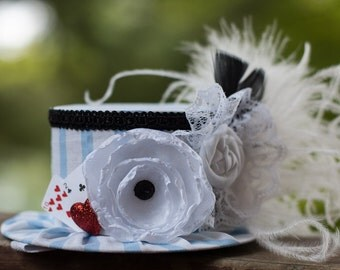 Alice in Wonderland Inspired Mini Top Hat- Tea Party - Costume Birthday - Photo Prop - Deck of Cards