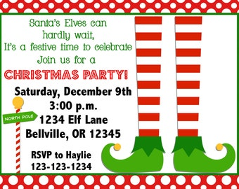 Elf Christmas Party Invitation Print Your Own 4x6 or 5x7