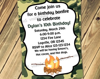 Camo Bonfire Birthday Invitation Pink or Green Print Your Own