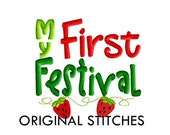 My First Strawberry Festival Embroidery Digital Design File 4x4 5x7