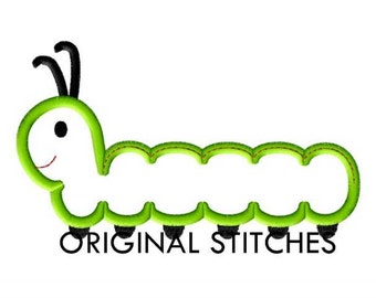 Caterpillar Applique and Machine Embroidery Design File 4x4 5x5 5x7 6x6 6x10