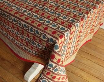 "Hand Block Printed Tablecloth  - Trellis Stone - 55"" x 87"""
