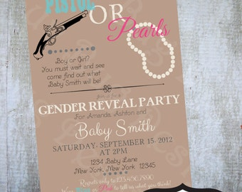 Gender Reveal Party Pistol or Pearls Themed Baby Shower Printable Invitation Printable party invitations by Luv Bug Design