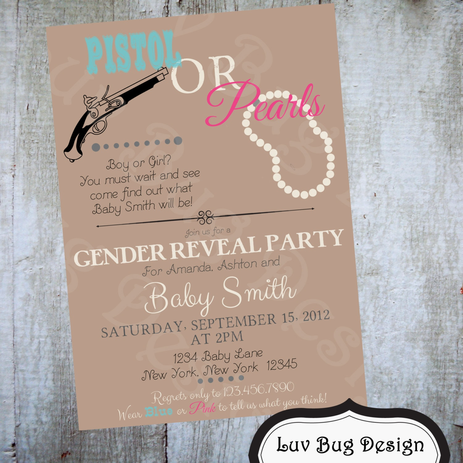 Baby Shower Reveal Party: Gender Reveal Party Pistol Or Pearls Themed Baby By