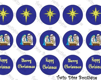 Nativity Ornament - 1 inch image sheets for bottle caps - perfect for Christmas decorations