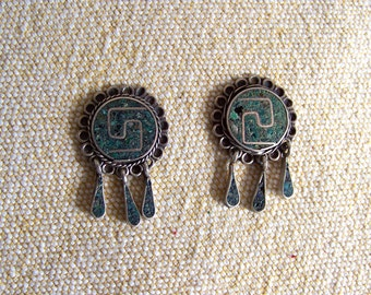 Mexican silver earrings Taxco vintage tribal modernist 1940s