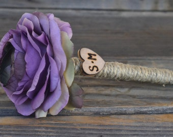 Shabby Chic Purple Ranunculus Guest Pen with wood heart with bride and groom initials