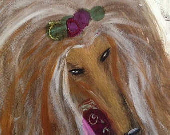 Afghan Hound  on watercolor paper original