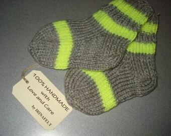 Hand Knitted Kids Socks Booties Legs Warmers, Baby Bed Socks, Toddler House Home Slippers Socks, Girls Boys Socks EUR Size 19-22, Gift idea