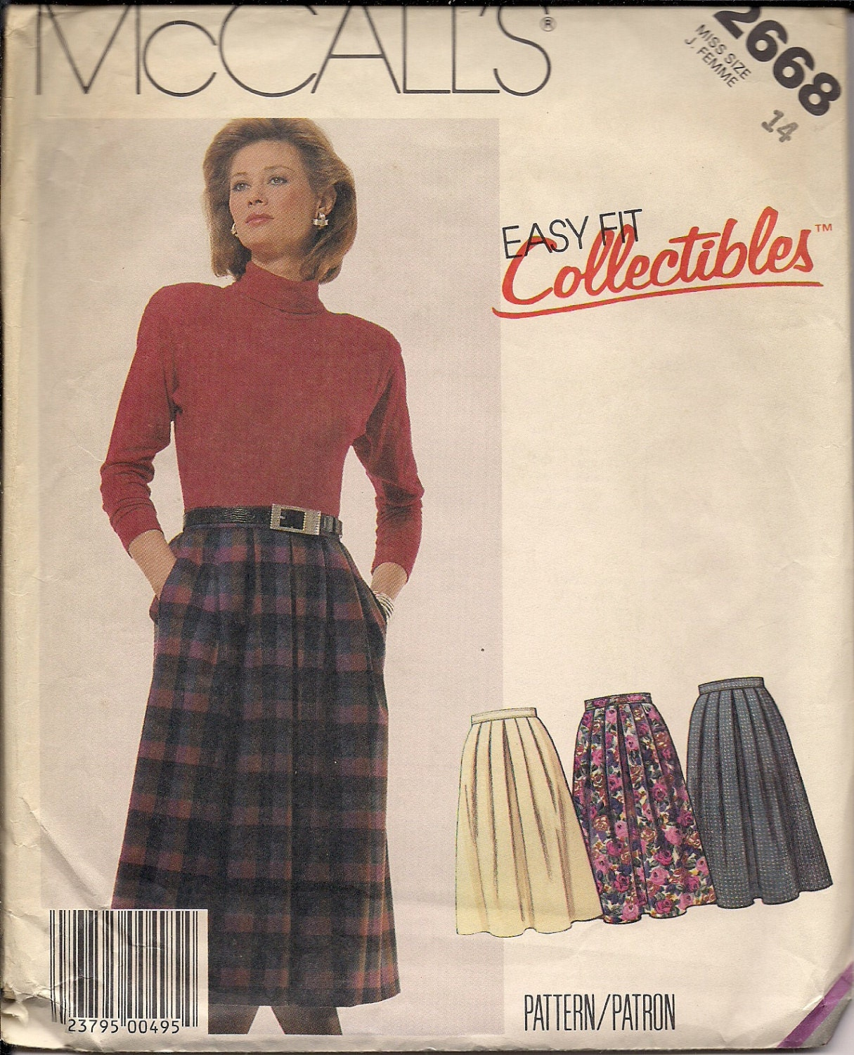 1986 Sewing Pattern Mccall S 2668 Misses Skirt Size 14
