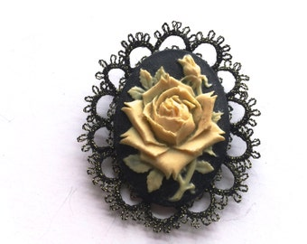 Vintage Cameo Brooch Carved Floral Motif with Metallic Trim