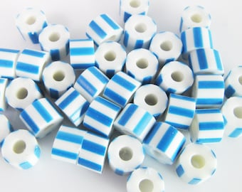 100 Vintage Blue and White Striped Plastic Tube Beads Bd1136