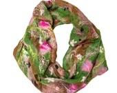 "Felted cobweb scarf, infinity, merino wool, grass green, pink, crimson, brown - ""Earth"""
