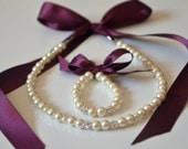 Egg plant flower girl jewelry set adjustable necklace and stretchy bracelet with swarovski crystal balls wedding jewelry  flower girl