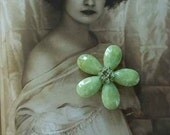 1960s sage green floral brooch with green rhinestones