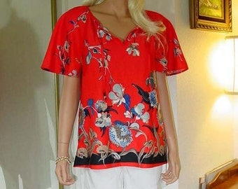 70s Polyester Top Blouse Vintage Size 16
