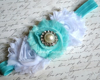 Blue and White Shabby Baby Headband, Girls Headband, Newborn Headband, infant Headband, Toddler Headband
