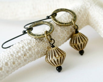 Dangle Earrings - Black, beige and brown earrings - Little hoops - Rustic african earrings - Earthy fall colours