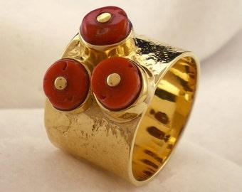 """Natural Red Precious Coral Band Ring """"Atoll"""", Solid 18K Gold"""