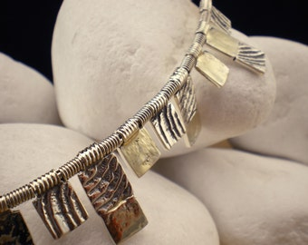 """Handmade Solid Sterling Silver Necklace with 18K Gold """"Stone"""" - FREE Shipping"""