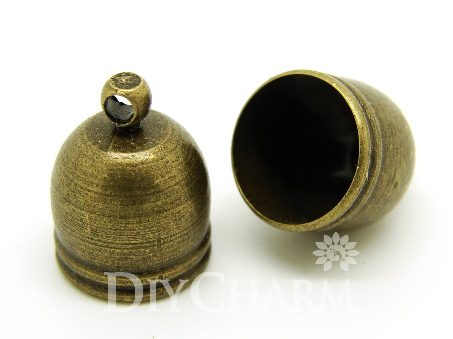 Bronze tone bead cone end caps for cording or kumihimo