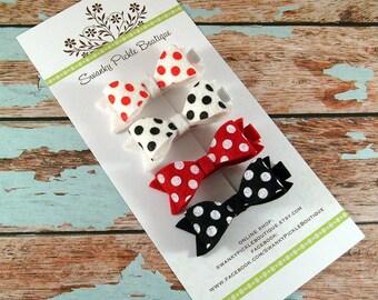 Wool Felt Hair Bows - Olivia Color Scheme - Felt Bow Hair Clip - Polka Dot Felt Bows - Baby Girl Hair Clips - Girls Hair Bows