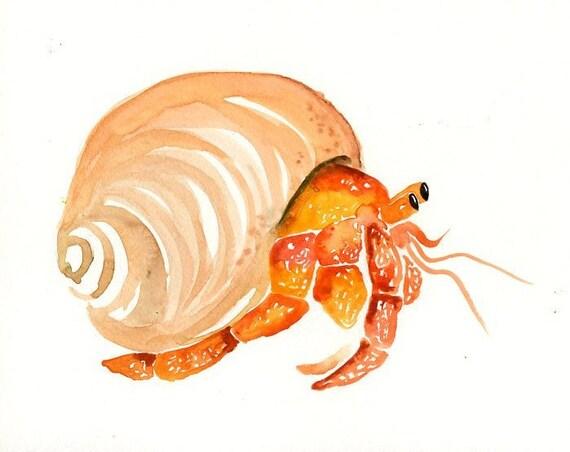 HERMIT CRAB ACEO print-Children's Decor-Art for Hermit Crab Art