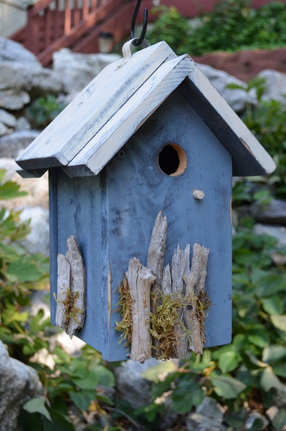 Rustic Birdhouse Handmade Woodworking Driftwood Moss Hand Painted ...