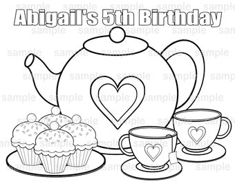 personalized tea party bi rthday party favor childrens coloring - Princess Tea Party Coloring Pages