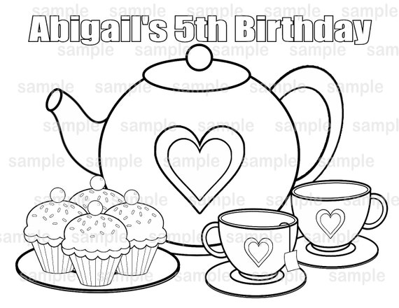 PRINTABLE Personalized Tea Party Birthday Party Favor
