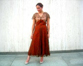 Vintage lace dress brown two toned