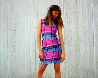 plaid  vintage bombshell dress free shipping