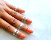 Above Knuckle Rings,6 Adjustable Midi Ring, Stacking rings, Shiny silver rings, Edgysheeq statement rings for everyday Flair