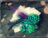 Freshwater pearl green and blue feather Hair Clip