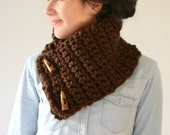 Brown Neckwarmer with Buttons - Crochet Cowl - Snood - Christmas Gift - Women Teens Accessories - Autumn Winter Fashion