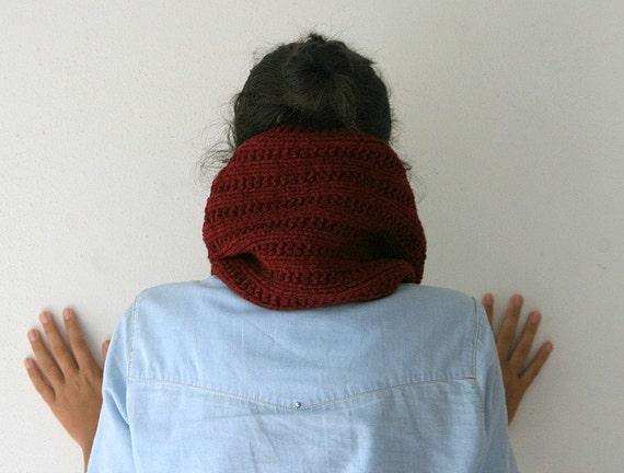 Neck Warmer Scarf in Burgundy and Multi Colors - Knit Cowl - Christmas Gift - Unisex - Snood - Women Teens Accessories