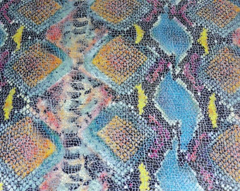 """Leather 8""""x10"""" Shiny BLUE Tropical Python Multicolored Snake embossed Cowhide 2.75-3 oz /1.1-1.2 mm PeggySueAlso™ E2050-01"""