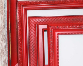 Red Frame 5x7 Vintage Hand Painted Distressed Made to Order