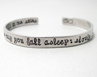 The Fault in Our Stars Bracelet - I Fell in Love The Way You Fall Asleep -Hand Stamped Cuff in Aluminum, Golden Brass or Sterling Silver