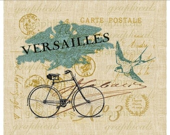 French Bicycle Aqua bird Instant clip art Digital download image for iron on fabric transfer burlap decoupage pillows totes Item No. 1883