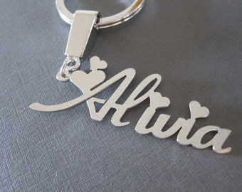 Personalized White Gold Name Keychain