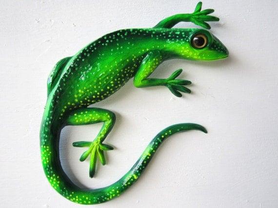 Green gecko wall art sculpture for Gecko wall art