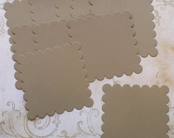 10 pc Large Scallop Squares Die Cuts Kraft Cardstock for DIY Banners Crafts Rustic Tags Weddings Labels