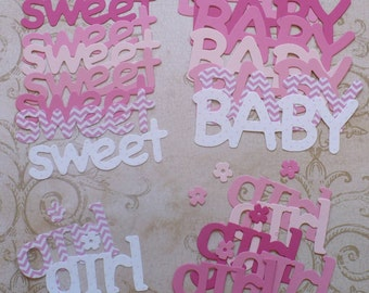 Sweet Baby Girl Die Cut Shapes from Pink / Girl Cardstock polka dots solids chevron prints