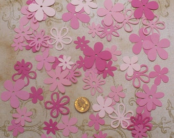 Assorted Cricut Die Cut Flowers / Blooms over 50 pieces Embellishments Made from Pinks cardstock