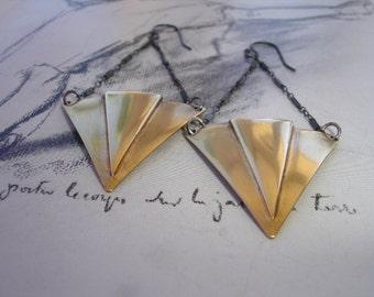 Chevron Dangle Earrings, Sterling Silver, Geometric, Modern, Art Deco