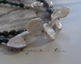 White Petals Asymmetrical Freshwater Pearl Beaded Necklace, Peacock Pearls, Keishi Pearls, Sterling Silver, Modern, Dainty